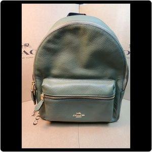 Coach Medium Charlie Backpack. Military Green/Gold